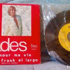 Discos de vinilo: UNIDADES – MON AMOUR MA VIE / FRANK EL LARGO - SINGLE MUY RARO AÑO 1972 VICTORIA SS-153 - IMPOLUTO. Lote 129002875