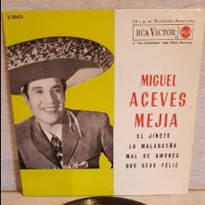 Discos de vinilo: MIGUEL ACEVES MEJIA / EL JINETE / EP - RCA-VICTOR - 1962 / MBC. ***/***. Lote 129093263