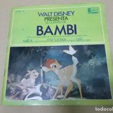 Discos de vinilo: BAMBI (EP) CANCIONES DE LA BANDA SONORA DE LA PELICULA EN CASTELLANO AÑO 1967 – DISCO + CUENTO. Lote 129107239