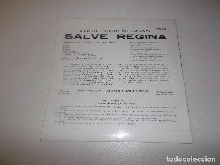 Discos de vinilo: SALVE REGINA HANDEL ORLADOR CIRCULO DE ECTORES 1965 - Foto 2 - 129164187