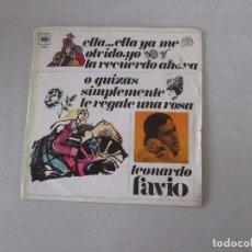 Discos de vinilo: LEONARDO FAVIO ELLA... ELLA YA ME OLVIDÓ, YO LA RECUERDO AHORA +1 CBS 1969. Lote 129191191