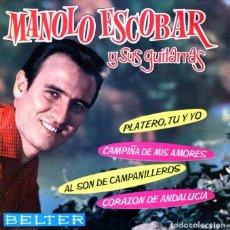 Discos de vinilo: MANOLO ESCOBAR / PLATERO, TU Y YO + 3 (EP 1962). Lote 129248963