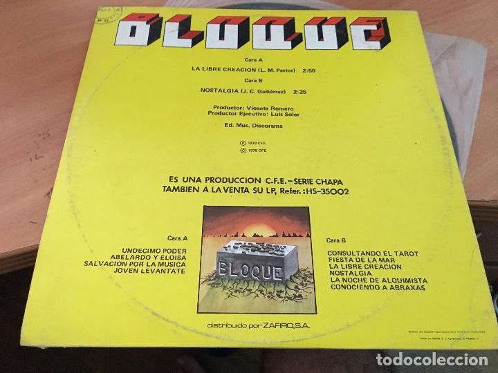 Discos de vinilo: BLOQUE (LA LIBRE CREACION) MAXI ESPAÑA 1978 PROMO CHAPA DISCOS CONSERVA LAS ASAS (VIN-A7) - Foto 4 - 129298295