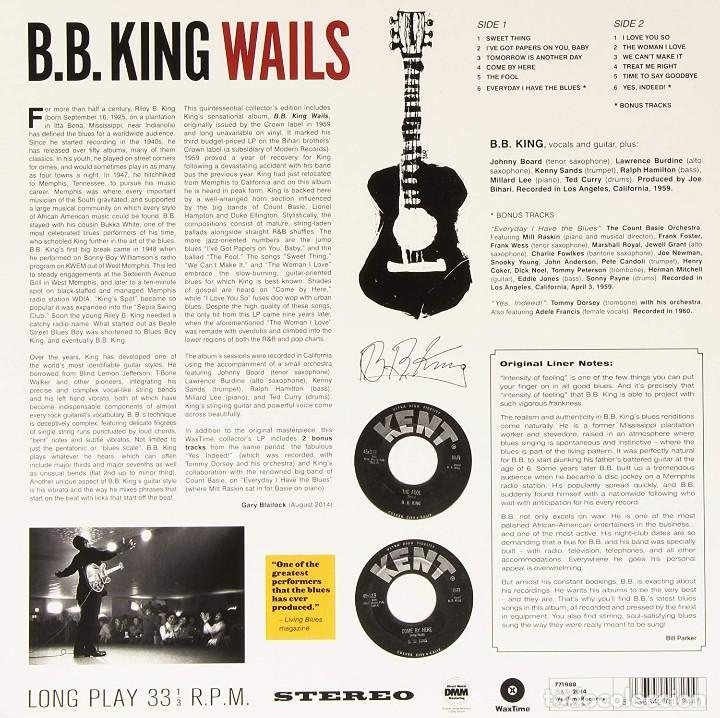 Discos de vinilo: B.B. KING And His Orchestra * LP HQ Virgin Vinyl 180g + descarga * WAILS * Bonus * Precintado - Foto 8 - 129302795