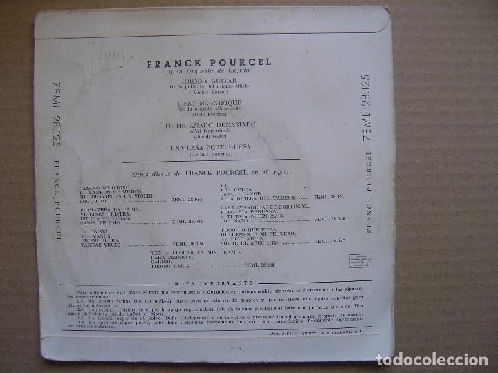 Discos de vinilo: FRANK POURCEL - johnny guitar - EP - LA VOZ DE SU AMO - Foto 2 - 129349239