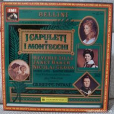Discos de vinilo: BELLINI - I CAPULETI E I MONTECCHI (CAJA 3 LPS + LIBRETO EMI ESPAÑA) VINILOS COMO NUEVOS. Lote 129354003