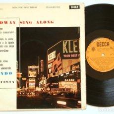 Discos de vinilo: RETRO LP - EDMUNDO ROS - BROADWAY SING ALONG (DECCA, 1962) - CHA-CHA-CHA - LATIN - LOUNGE RETRO. Lote 129375779