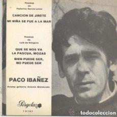 Discos de vinilo: PACO IBAÑEZ, EP, CANCION DE JINETE + 3 - EP PERGOLA 1969. Lote 129402419