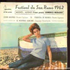 Discos de vinilo: FESTIVAL DE SAN REMO 1962. DOMENICO MODUGNO. IBEROFON 1962 EP. Lote 129440727