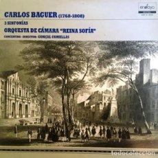 Discos de vinilo: CARLOS BAGUER - 3 SINFONÍAS - ORQUESTA DE CÁMARA REINA SOFÍA - GONÇAL COMELLAS. Lote 129557151