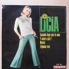Discos de vinilo: LICIA- CUANDO TE DIGO TE AMO +3- EP VERGARA 1967. Lote 129598323