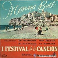 Discos de vinilo: MONNA BELL: I FESTIVAL DE LA CANCION, BENIDORN. - EP HISPAVOX, ESPAÑA AÑO 1959. Lote 129752295