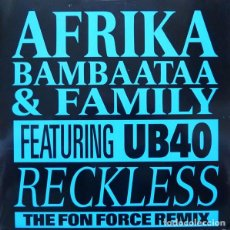 Discos de vinilo: AFRIKA BAMBAATAA & FAMILY FEATURING UB40 ?– RECKLESS. 12´´ MAXI SINGLE.. Lote 205409852