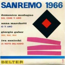 Discos de vinilo: VVAA - SAN REMO 1966 - EP SPAIN 1966 - BELTER 51.620. Lote 130308862