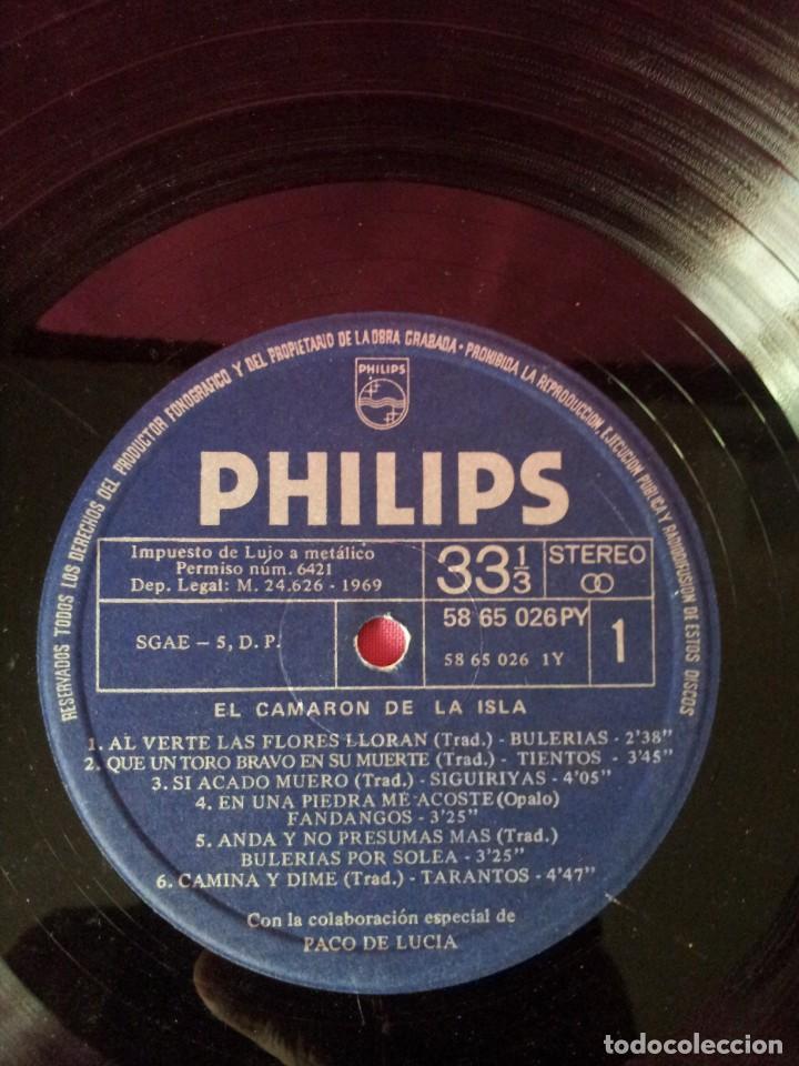 Discos de vinilo: LP, EL CAMARON DE LA ISLA CON LA COLABORACION ESPECIAL DE PACO DE LUCIA - PHILIPS 1969 - Foto 5 - 130345682