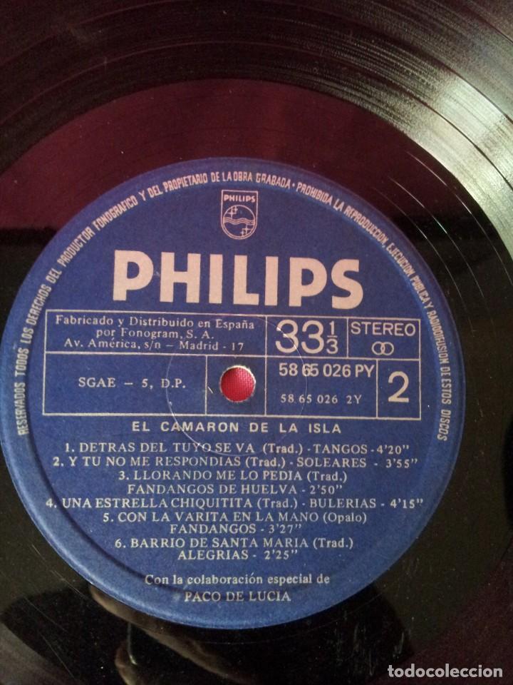 Discos de vinilo: LP, EL CAMARON DE LA ISLA CON LA COLABORACION ESPECIAL DE PACO DE LUCIA - PHILIPS 1969 - Foto 7 - 130345682