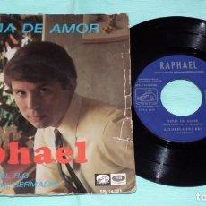 Discos de vinilo: SINGLE - RAPHAEL - TEMA DE AMOR. Lote 130443250