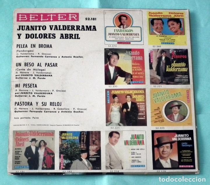 Discos de vinilo: SINGLE - JUANITO VALDERRAMA Y DOLORES ABRIL - MI PESETA - Foto 2 - 130444850