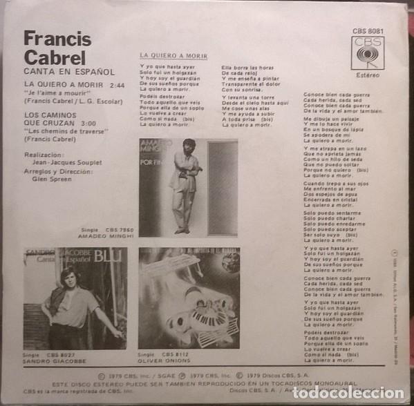 Discos de vinilo: Francis Cabrel ?– La Quiero A Morir (España, 1980) - Foto 2 - 130454402