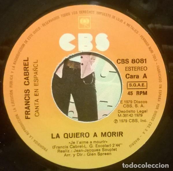 Discos de vinilo: Francis Cabrel ?– La Quiero A Morir (España, 1980) - Foto 3 - 130454402
