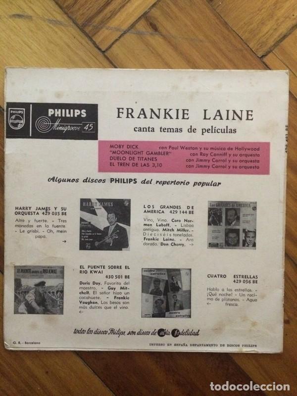 Discos de vinilo: Frankie Laine– Canta Temas De Peliculas (España, 1958) - Foto 2 - 130454678