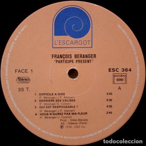 Discos de vinilo: François Béranger ?– Participe Présent (France, 1978) - Foto 2 - 130454770