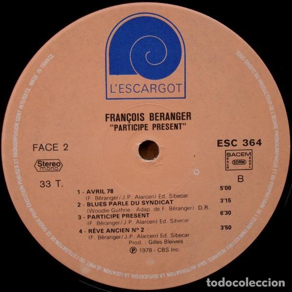 Discos de vinilo: François Béranger ?– Participe Présent (France, 1978) - Foto 3 - 130454770