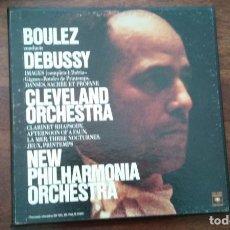 Discos de vinilo: BOULEZ CONDUCTS DEBUSSY- CLEVELAND ORCHESTRA NEW PHILARMONIA ORCHESTRA.3 LP US. Lote 130514022
