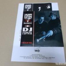 Discos de vinilo: KRYGER MC + DJ FRANK (SN) Y TU DE QUE VAS AÑO 1992 - EDICION PROMOCIONAL + HOJA PROMOCIONAL. Lote 130554708
