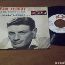 Discos de vinilo: JEAN FERRAT ?– LES MERCENAIRES + 3 FRANCIA -DISQUES VOGUE ?– POX. 16 - 1966-. Lote 130569142
