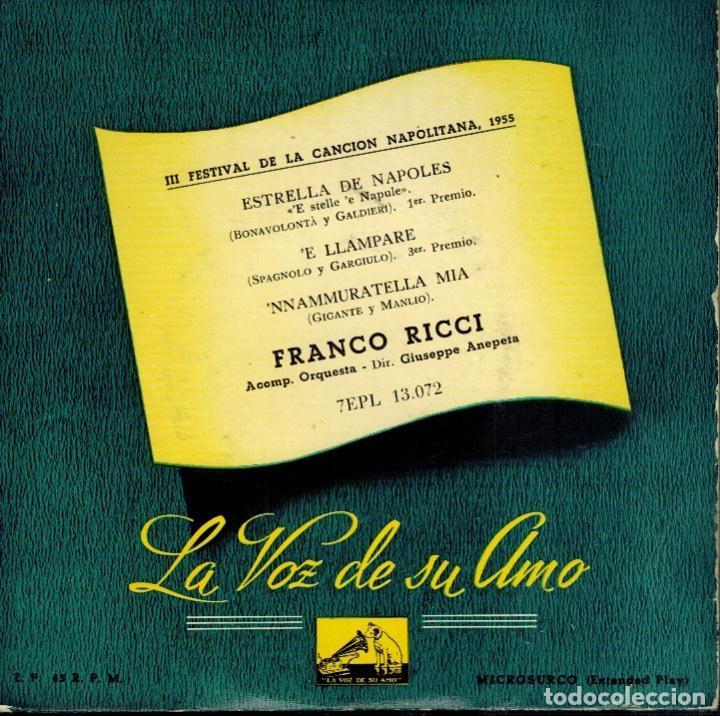 FRANCO RICCI FESTIVAL DE LA CANCIÓN NAPOLITANA: ESTRELLA DE NÁPOLES & E LLAMPARE & NNAMMURATELLA MIA (Música - Discos - Singles Vinilo - Canción Francesa e Italiana)