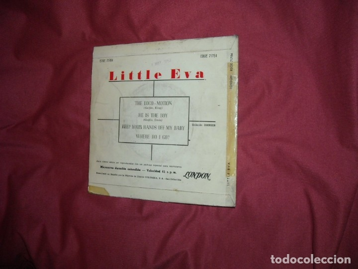 Discos de vinilo: LITTLE EVA- The loco-motion + 3 - EP LONDON ESPAÑA 1963 VER FOTO - Foto 2 - 130820352