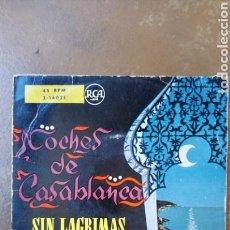 Discos de vinilo: NOCHES DE CASABLANCA. RAFAEL CARDONA Y SU ORQUESTA. SIN LÁGRIMAS (AUGUSTO ALGUERO) . 45 RPM. RARO.. Lote 130863228