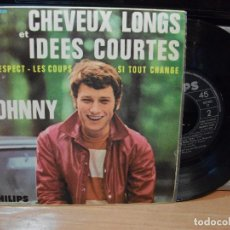 Discos de vinilo: JOHNNY HALLYDAY RESPECT,CHEVEUX LONGS, + 2 EP SPAIN 1966 PEPETO TOP . Lote 130867240
