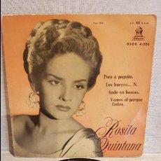 Discos de vinilo: ROSITA QUINTANA / POCO A POQUITO / EP - ODEON - 1958 / USO NORMAL. ***/**. Lote 130911348