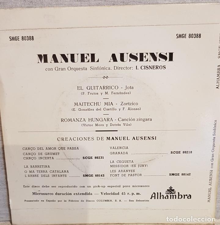 Discos de vinilo: MANUEL AUSENSI / EL GUITARRICO / EP - ALHAMBRA - 1960 / MBC. ***/*** - Foto 2 - 130921760