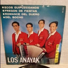 Discos de vinilo: LOS ANAYAK / ECOS GUIPUZCOANOS / EP - BELTER - 1965 / MBC. ***/***. Lote 130922940