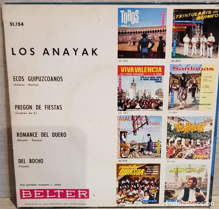 Discos de vinilo: LOS ANAYAK / ECOS GUIPUZCOANOS / EP - BELTER - 1965 / MBC. ***/*** - Foto 2 - 130922940