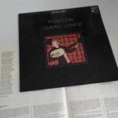 Discos de vinilo: TROBADOURS CLEMENCIC CONSORT, MÚSICA ANTIGUA. Lote 130923332