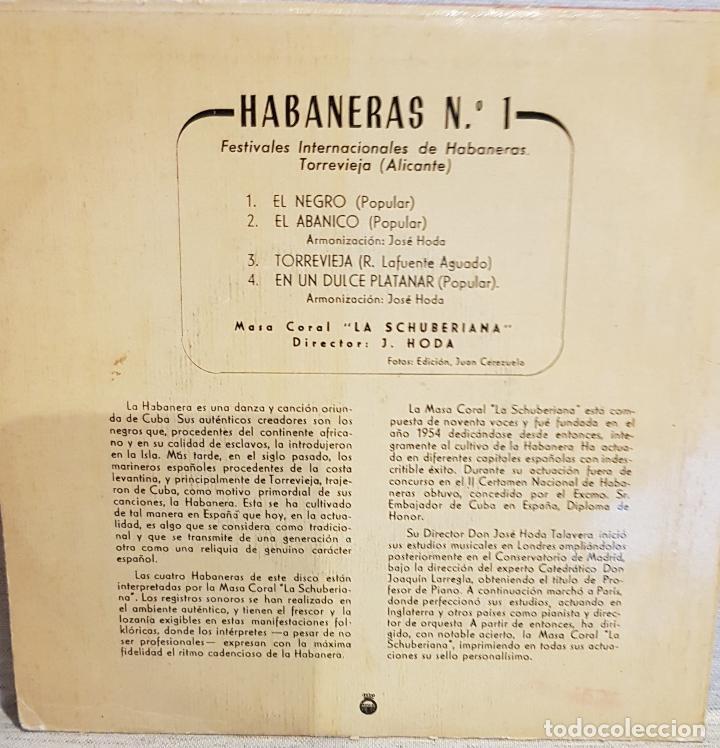 Discos de vinilo: HABANERAS Nº 1 / FESTIVALES DE TORREVIEJA - 1958 / EP - TELEFUNKEN / MBC. ***/*** - Foto 2 - 130923368