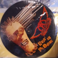 Discos de vinilo: PICTURE DISC AEROSMITH LIVIN'ONTHE EDGE. Lote 130991327