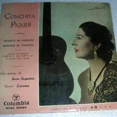 Discos de vinilo: CONCHITA PIQUER - PICADITA DE VIRUELAS - SINGLE. Lote 131070088
