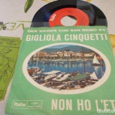 Discos de vinilo: GIGLIOLA CINQUETTI, NON HO L´ETA. SAN REMO 64. Lote 131092864