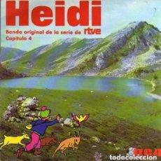 Discos de vinilo: HEIDI, CAPITULO 4. BANDA ORIGINAL DE LA SERIE DE RTVE. SINGLE DEL SELLO RCA DEL AÑO 1975. Lote 131232511