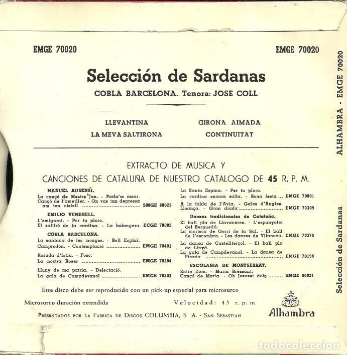 Discos de vinilo: SELECCIÓN DE SARDANAS - COBLA BARCELONA. TENORA: JOSE COLL - DISCOS ALHAMBRA - 50s - Foto 4 - 131235983