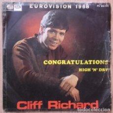 Discos de vinilo: CLIFF RICHARD - CONGRATULATIONS - SINGLE EUROVISION 1968. Lote 131330490