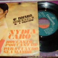 Discos de vinilo: NIDYA CARO 1ER PREMIO FESTIVAL DE LA OTI 1974 HOY CANTO POR CANTAR PARA CUANDO SEA MAYOR. Lote 131403586