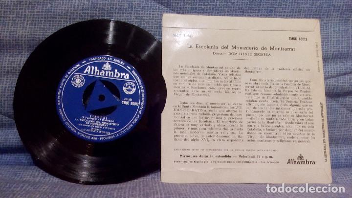 Discos de vinilo: SINGLE DE LA ESCOLANIA DEL MONASTERIO DE MONTSERRAT - SALVE MONTSERRATINA / VIROLAI - ALHAMBRA EX - Foto 2 - 131465406