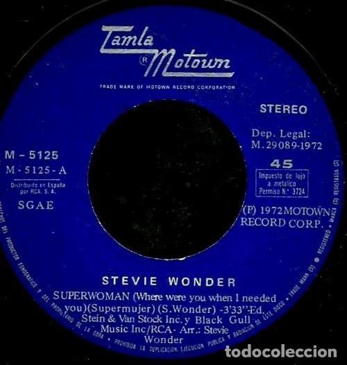 Vinyl-Schallplatten: S67 - STEVIE WONDER. SUPERWOMAN / I LOVE EVERY LITTLE THING ABOUT YOU. SINGLE. VINILO. - Foto 3 - 131467918
