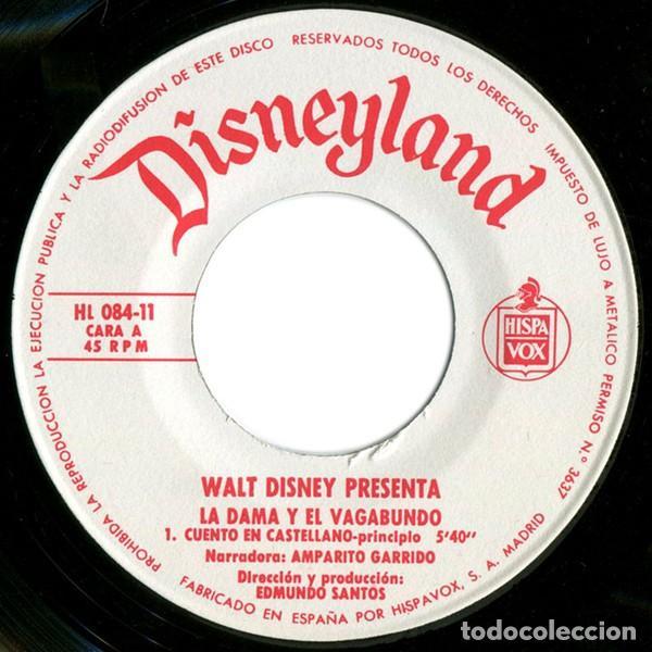 WALT DISNEY - LA DAMA Y EL VAGABUNDO (EP DISNEYLAND - BRUGUERA 1969 (SOLO DISCO) (Música - Discos de Vinilo - EPs - Música Infantil)